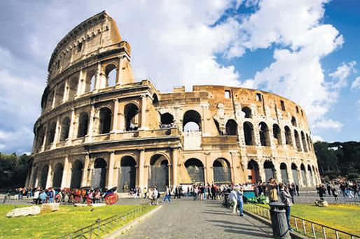 The Colosseum, an amphitheatre built in the first century to hold 50,000 spectators