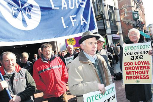 Barley growers staging a protest at food company Greencore's EGM at the Westbury Hotel, Dublin, yesterday