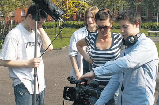 Transition Year students from St Patrick's Cathedral Grammar School get practical experience of working with film equipment