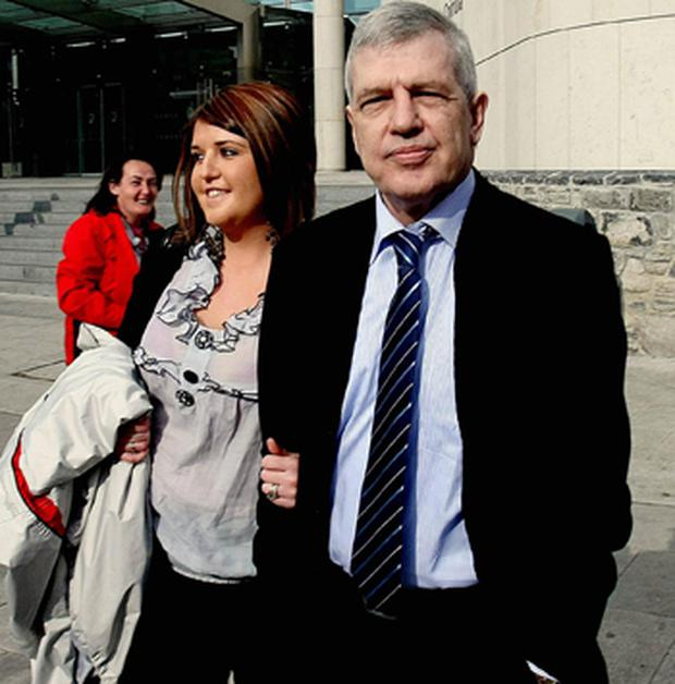 Liam Adams pictured with his daughter Claire Smith at the High Court in Dublin for his extradition hearing. Photo: PA