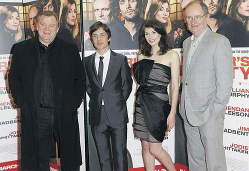 (Left to right) Brendan Gleeson, Cillian Murphy, Jodie Whittaker and Jim Broadbent arrive for the premiere of 'Perrier's Bounty' at the Savoy Cinema, Dublin, yesterday.