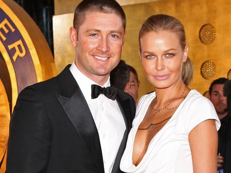 Michael Clarke and partner Lara Bingle pictured at a function in Melbourne last month. Photo: Getty Images