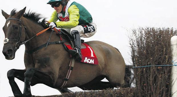 Tony McCoy and Denman in action at Newbury before the pair went their separate ways up the straight