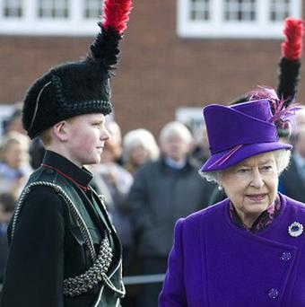 The Queen during her visit to Wyvern Barracks in Devon