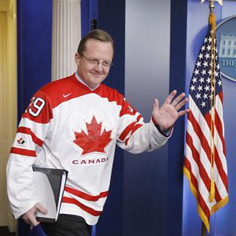 White House press secretary Robert Gibbs wearing a Team Canada Olympic hockey jersey (AP)