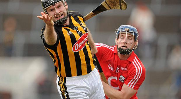 Kilkenny's Canice Hickey in action Patrick Horgan of Cork during their Allianz NHL match in Pairc Ui Chaoimh BRENDAN MORAN / SPORTSFILE