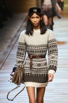 Loose dresses like this D&G jumper dress can be cinched in with a belt to give shape.
