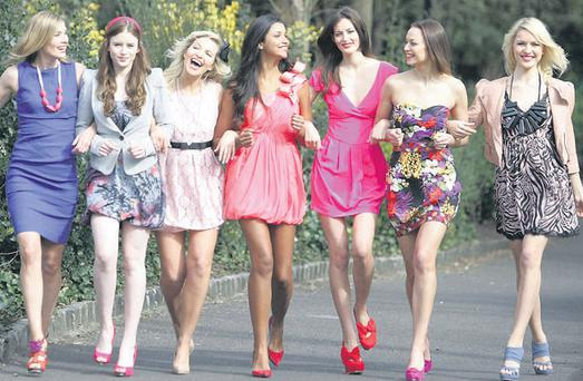 From left: Heather in a Nicole Miller dress and Buffalo shoes from Arnotts; Jamie wears a grey blazer dress and pink shoes from Bershka; Jeannine in a blush dress and patent nude shoes from Penneys; Angelica wears coral Forever Unique Dress, from Julian; Isabelle in a Temperley bold pink dress and red shoes from Brown Thomas; Irma in a printed fever amazon bustier London dress and Karen Millen courts from Clery's; and Teodora wears a Lipsy dress and a Lipsy nude leather jacket. PHOTOCALL
