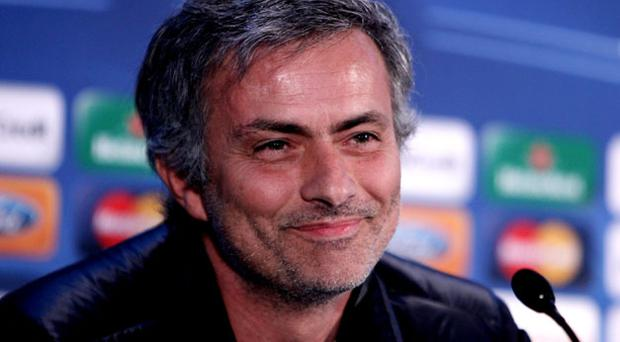 Inter Milan manager Jose Mourinho was his usual ebullient self on his return to Stamford Bridge yesterday Photo: Getty Images