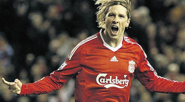 Fernando Torres celebrates after scoring the second of his two goals for Liverpool against Portsmouth at Anfield last night