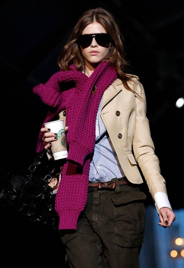 Dsquared2: A sweater pinned at the neck serves as a chunky scarf