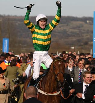 Tony McCoy celebrates landing the Champion Hurdle on Binocular. Photo: PA
