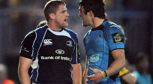 Kelly Brown, pictured exchanging words with Jamie Heaslip (left)