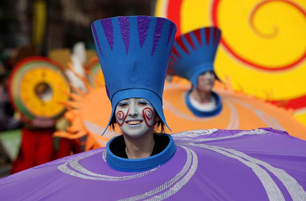 The streets of Dublin were awash with colour for the annual St Patrick's Day parade. Photo: PA