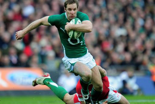 Tomas O'Leary evading a tackle from Jamie Roberts in last Saturday's win over Wales. Photo: Getty Images