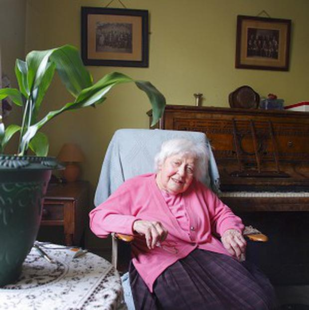 Centenarian Miss Muriel Noyce at her home in Hampshire, where she has lived for 96 years
