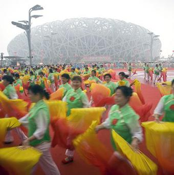A mass Tai Chi performance in front of China's National Stadium