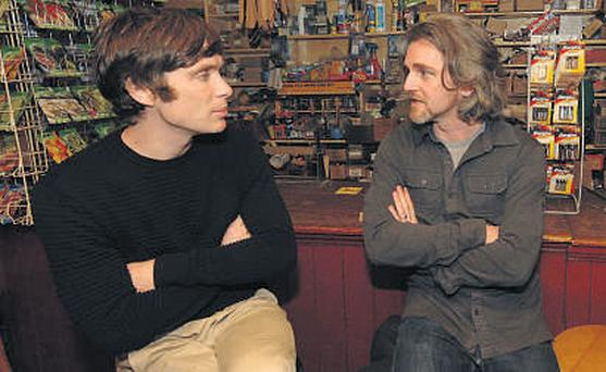 Actor Cillian Murphy is pictured with Dingle Film Festival director Maurice Galway in Foxy John's pub in Dingle, Co Kerry, yesterday.