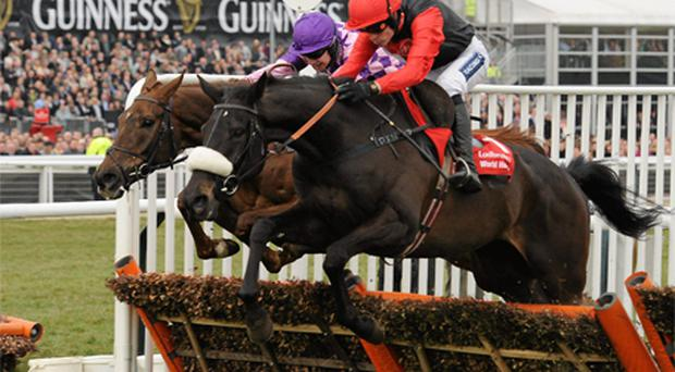 Big Buck's, white and black silks, with Ruby Walsh up, jumps the last on the way to winning the Ladbrokes World Hurdle from second place Time for Rupert, with WT Kennedy on board at Cheltenham yesterday