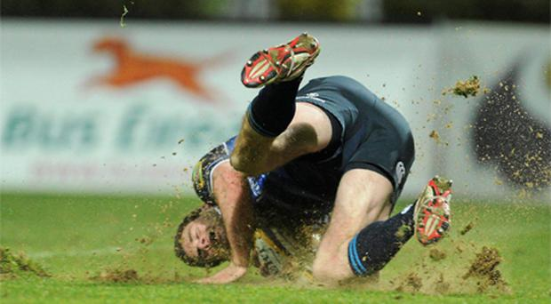 Fergus McFadden goes over for Leinster's first try against Glasgow Warriors at the RDS