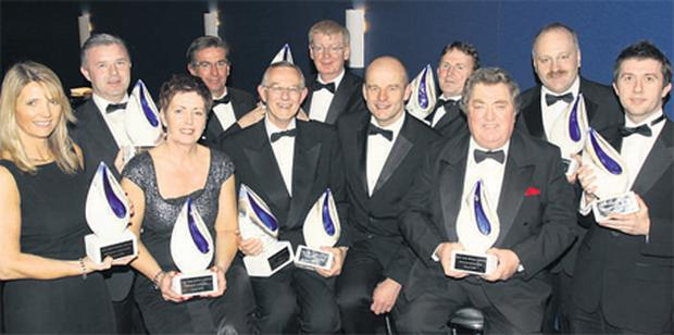 At the national final of the Ulster Bank Business Achievers Awards were (back row, left to right), Christy Dodd, Europharma Concepts Ltd; Ciaran Connell and Michael McLaughlin, of DecaWave; Eugene McKenna, Silver Hill Foods; Martin McElligott, ICE Comfort Slat Mats Ltd; and (front row, left to right), Mairead Hall, Kestrel Foods Ltd; Helen Delaney, ProVac Ltd; Pat McGrath, PM Group; Robert Gallagher, chief executive, Ulster Bank Corporate Markets; Bob Seward, Cork Academy of Music; and John P Murphy, First Derivatives.