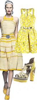 Canary yellow printed dress, €60.50 at River Island; Bow platforms by Emma Cook, €229 at Topshop.com