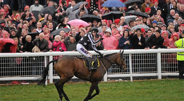 Paddy Brennan crosses the line on Imperial Commander
