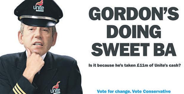 A Conservative campaign poster accusing Gordon Brown of failing to act in the BA dispute
