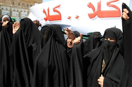 Residents demonstrate against the Baath party in Najaf