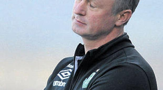 Shamrock Rovers boss Michael O'Neill shows his disappointment at the end of yesterday's defeat at home to Dundalk