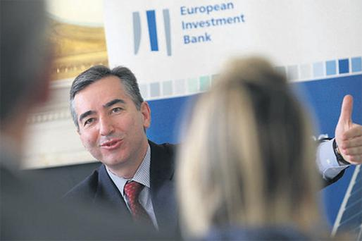 Plutarchos Sakellaris, vice-president of the European Investment Bank, speaking to journalists at the Merrion Hotel, Dublin, prior to his meeting with Finance Minister Brian Lenihan yesterday
