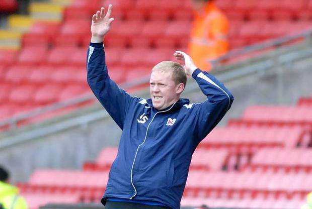 Steve Staunton shows his frustration during last Saturday's defeat to Barnet in what proved to be his final game in charge. NORTH NEWS AND PICTURES / 2DAYMEDIA