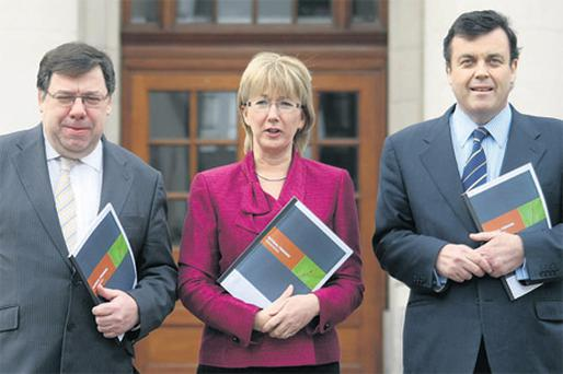 Taoiseach Brian Cowen, Social and Family Affairs Minister Mary Hanafin and Finance Minister Brian Lenihan pictured earlier this month at the launch of the new Pensions Framework at Government Buildings