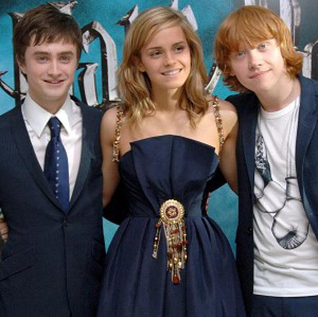 Harry Potter movie stars (from left) Daniel Radcliffe, Emma Watson and Rupert Grint