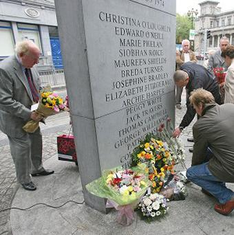 Relatives lay wreaths at Dublin Monaghan Bombings memorial