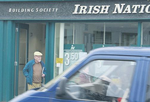 Former Irish Nationwide boss Michael Fingleton leaving the Bray branch yesterday