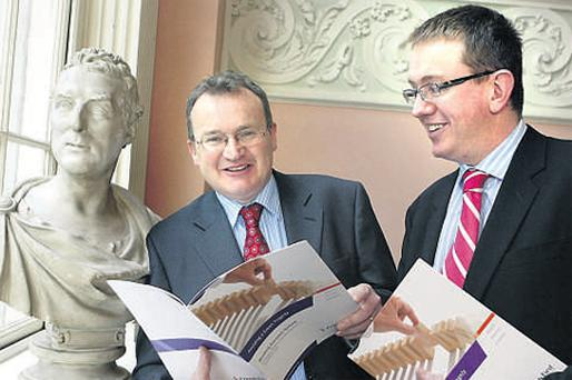 Friends First chief economist Jim Power, and Eamonn Twomey, head of marketing, launching the quarterly economic outlook review, 'Avoiding a Greek Tragedy', in the Merrion Hotel, Dublin, yesterday