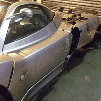 Pagani Zonda S supercar that was wrecked during a test drive and could cost 300,000 pounds to repair