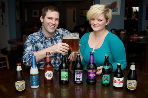 Radio Personalities Conor Lynch and Louise McSharry toast to the announcement of Brewers On The Bay Festival kicking off in Galway on May 1st