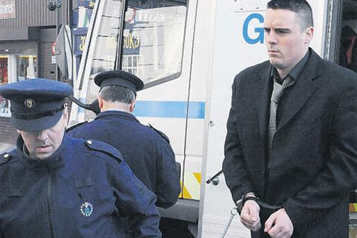 Paul Murphy at Cork courthouse yesterday after being convicted of the murder of Donal Manley