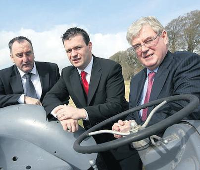 BEHIND THE WHEEL: Pictured at the 'Crisis or Opportunity' seminar to discuss the rural economy and the effect of future changes in CAP at Tipperary Institute, Thurles, Co Tipperary, on Friday, were, from left, John Byran, IFA National President, Alan Kelly MEP and Labour Party Leader and Eamon Gilmore.