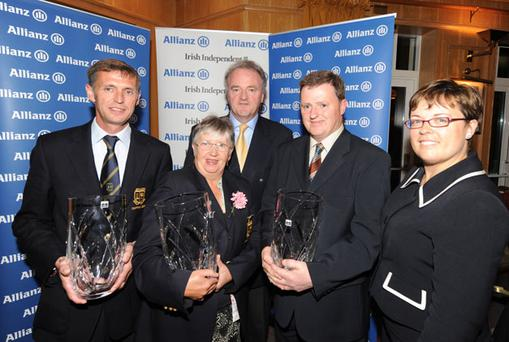 FLASHBACK: To the final of the 2009 Allianz Irish Independent Executive Trophy won by Nenagh GC. Pictured are (l-r): David Jones (captain, Nenagh), Sadie Callanan (lady captain, Nenagh), Brendan Murphy (CEO, Allianz) and Sean Minogue (hon sec, Nenagh)