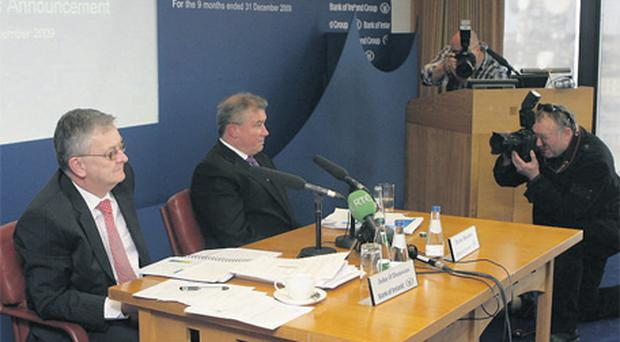 Bank of Ireland chief financial officer John O'Donovan and chief executive Richie Boucher at the presentation of the bank's results for the nine months ended December 31, 2009