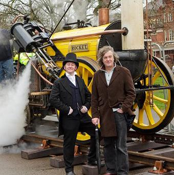 Commuters were given the chance to let off steam - with a trip on Stephenson's Rocket