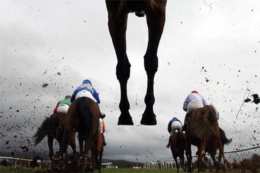Runners jump the ditch in a handicap steeplechase at Ludlow yesterday