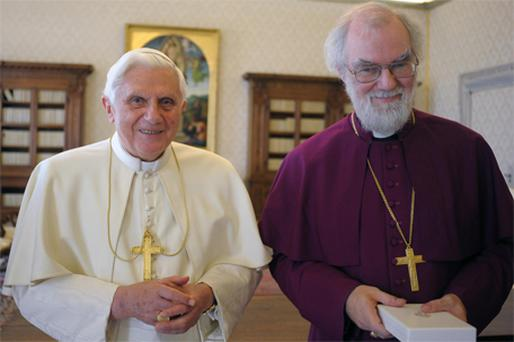 Pope Benedict and the Archbishop of Canterbury, Dr Rowan Williams, at the Vatican last November