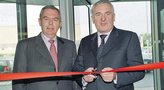 Sean Quinn with Bertie Ahern at the opening of the Q Centre in Blanchardstown, Dublin, in 2004