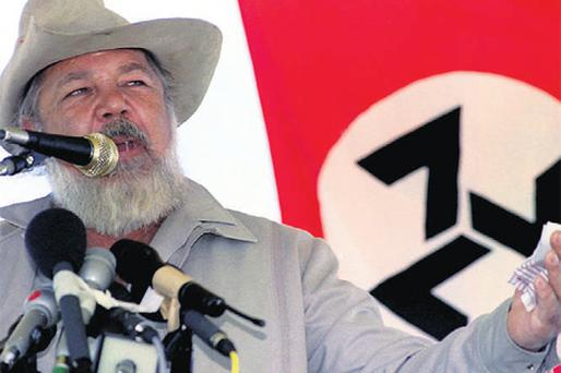 South African far-right leader Eugene Terreblanche giving a speech in 1994