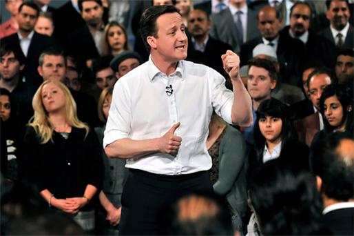 UK Conservative Party leader, David Cameron, delivers his speech at the City museum in Leeds