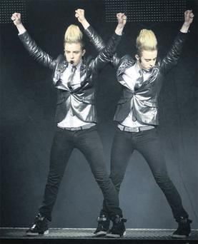 Jedward preforming at the first of Jedward's sold-out Irish tour.